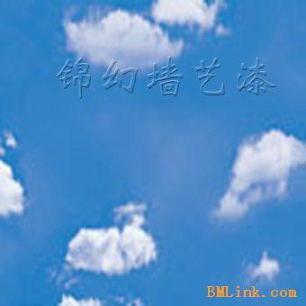 蓝天白云儿童手绘画展示