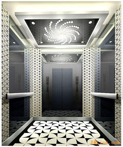 304不锈钢镜面板蚀刻鱼鳞纹电梯轿厢装饰板-【效果图