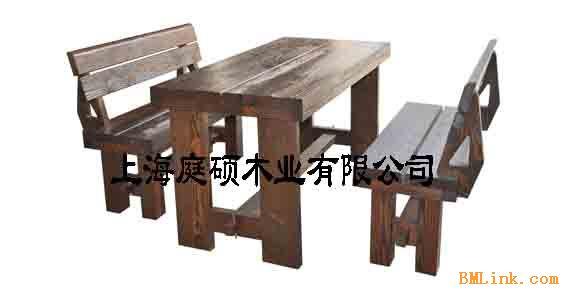 户外家具原木桌椅(三件套)