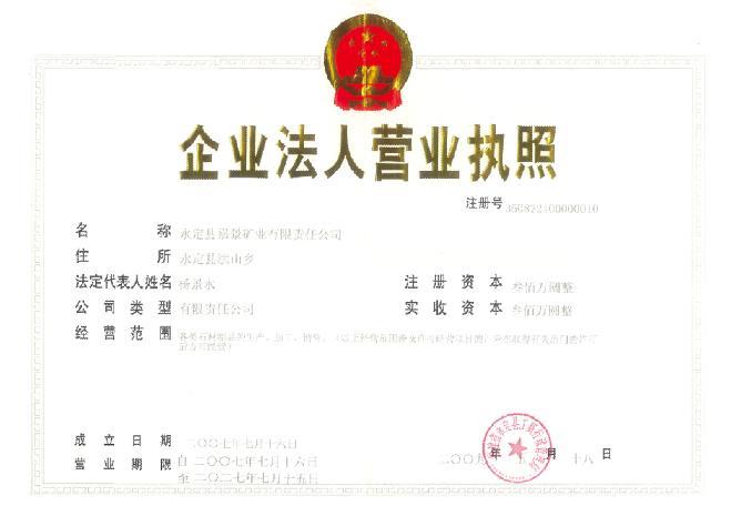 发证机构:福建省永定县工商行政