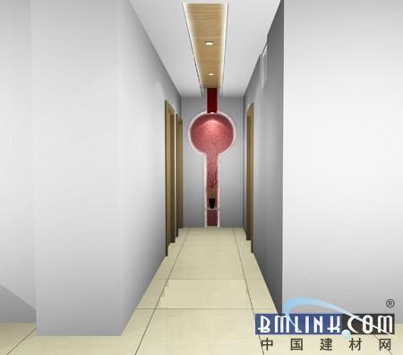 过道吊顶装修效果图 :走廊吊顶装修效果图,墙面设计是亮点.恰到