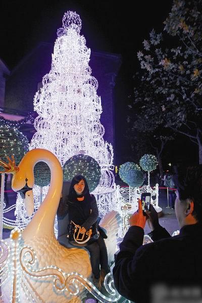 西湖边的圣诞树装饰亮灯了 宛若童话