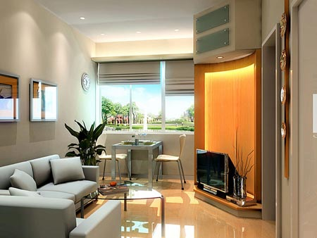 小户型客厅装修 简约电视背景墙正流行