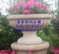 泰安石雕花盆|石雕花钵|黄锈石景观花盆花钵